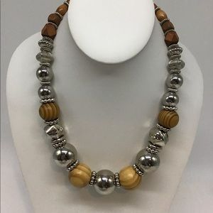 Wood and Silver metal Necklace